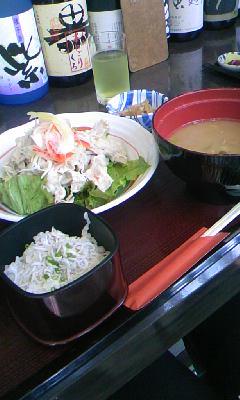 シラス丼と豚しゃぶサラダ